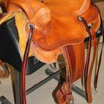 Rancher - basket wv border, latigo wrap, cheyenne roll, floral conchos, dark stirrup leathers