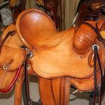 Rancher -2 strand barbed wire, straight-back, latigo wrap, saddlebags, stirrup leathers out, floral conchos, rope strap