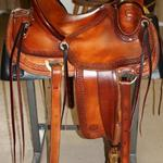 Rancher -basket weave border, dark straight-back, latigo wrap, floral conchos, stirrup leathers out, 3 in bell stirrups, rope strap
